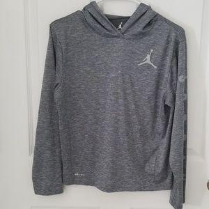 Boys Gray Jordan Dri-Fit Long Sleeve Hooded Shirt